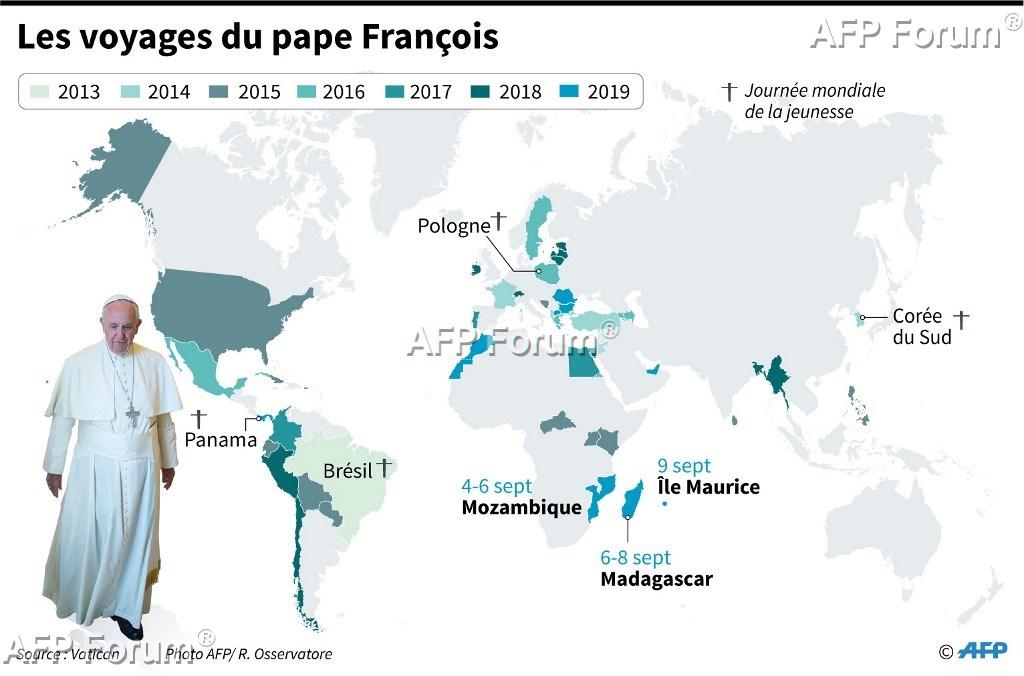 Le pape est arrivé à Maurice, dernière étape de sa tournée africaine