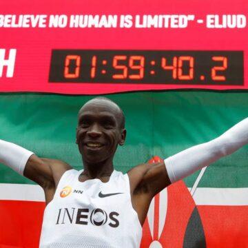 Eliud Kipchoge réalise une performance historique sur une course de 42,195 km en moins de 2h