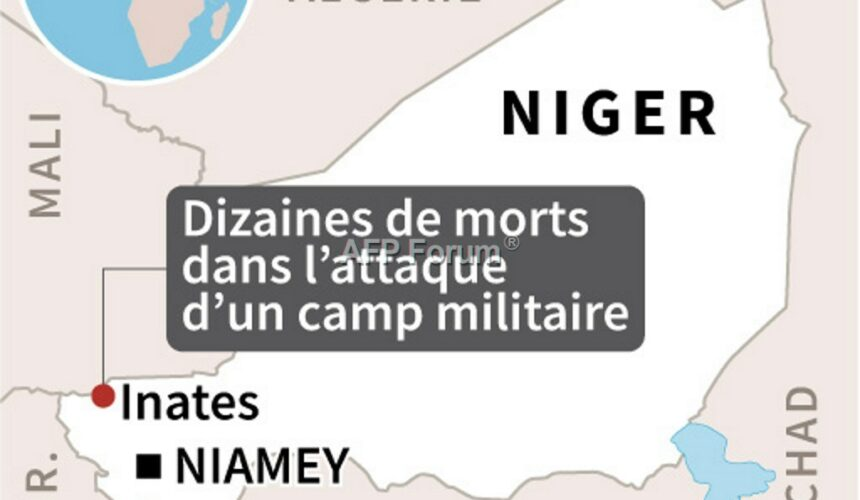 Localisation d'Inates au Niger où l'attaque d'un camp de l'armée nigérienne a fait plus de 60 morts mardi (AFP).